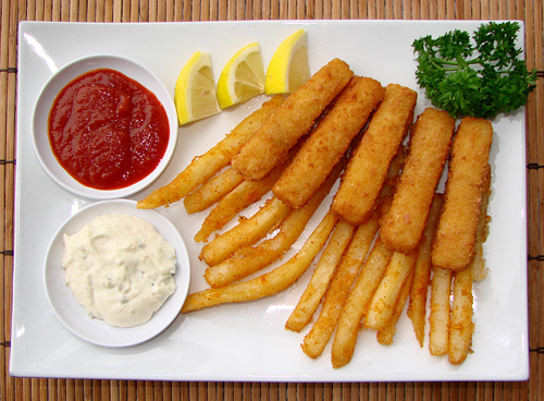 Fish 'n Chips, Trident Fish Sticks and Ore-Ida Zesties style, served ...
