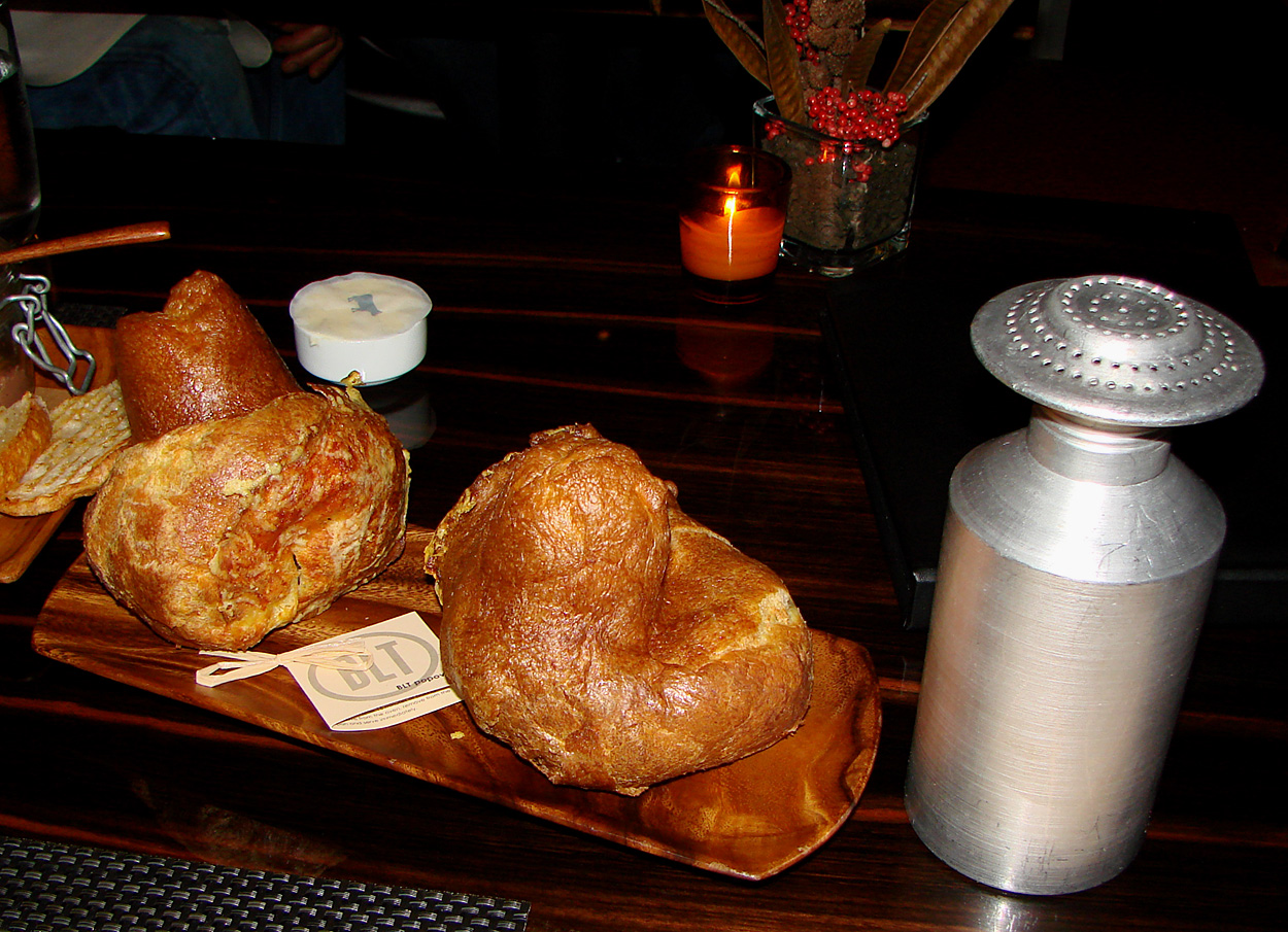 "Here's the Popover ""popped open"" and the toasted Ciabatta bread ..."