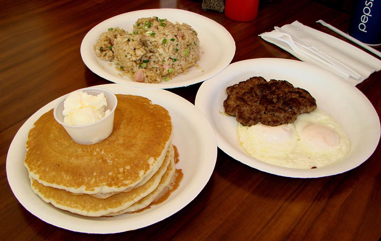 Pancakes & Waffles – Hamburger Patty and Eggs with Short Stack of ...