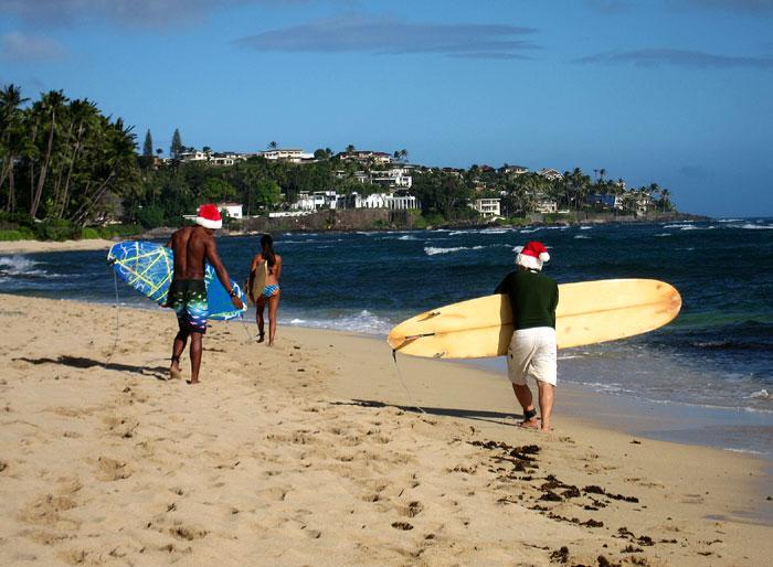 surfing santas