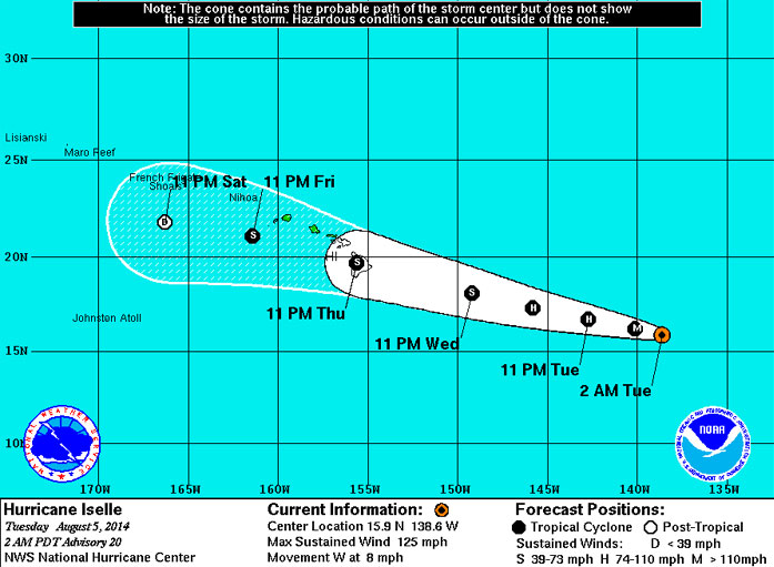 Hurricane Iselle 8.05.14 @ 2am trajectory