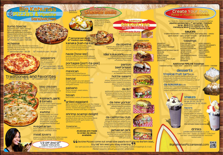 da big kahuna menu